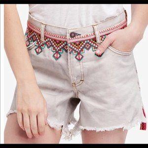 FREE PEOPLE Aztec Borderline Distressed Shorts